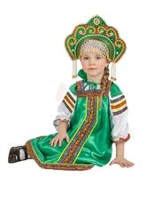 Национальные - Атласный зеленый костюм Аленушка