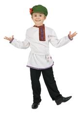 Русские народные - Белая детская льняная косоворотка