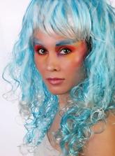 Мальвина - Бело-голубой кудрявый парик