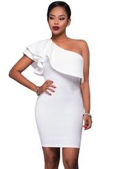 Клубные платья - Белое ассиметричное платье