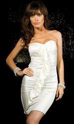 Клубные платья - Белое платье с рюшами