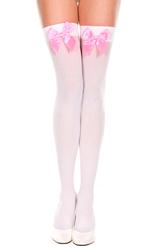 Женские костюмы - Белые чулки с розовым бантом