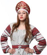 Женские костюмы - Бордовый кокошник Девичий в золоте