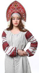 Женские костюмы - Бордовый кокошник Ярославна в золоте