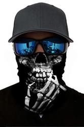 Скелеты и мертвецы - Черная бандана с принтом курящего скелета