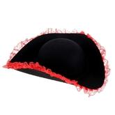 Женские костюмы - Черная шляпа с красным кружевом