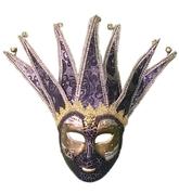 Венецианский карнавал - Черная венецианская маска с узором