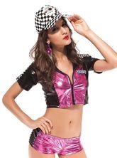 Спортсменки и Судьи - Чёрно-розовый костюм гонщицы