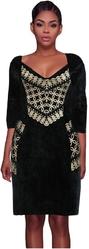 Черное платье с золотистым узором