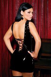 Go-Go костюмы - Черное виниловое платье на шнуровке