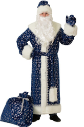 Дед Мороз - Костюм Дед Мороз синий в снежинках