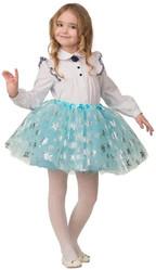 Снежинки - Детская голубая юбка со снежинками