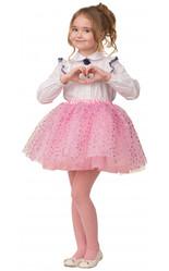 Мультфильмы и сказки - Детская розовая юбка с сердечками