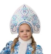 Снегурочки и Снежинки - Детский кокошник Гжель для снегурочки