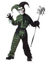Шуты и скоморохи - Детский костюм дьявольского шута черно-зеленый