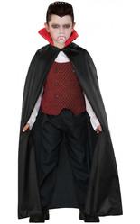 Детский плащ вампира с красным воротником