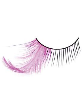 Длинные ресницы с розовыми перьями