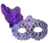Венецианский карнавал - Фиолетовая маска с пером