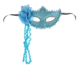 Венецианский карнавал - Голубая карнавальная маска с цветком
