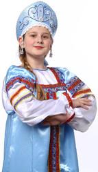 Женские костюмы - Голубой кокошник Девичий в серебре