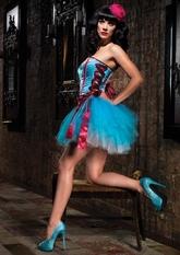Корсеты - Голубой корсет с боковой шнуровкой