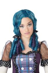 Куклы - Голубой парик куклы с бантиками