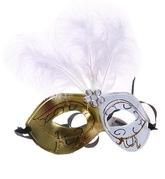 Венецианский карнавал - Карнавальная маска бело-золотая
