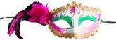 Аксессуары - Карнавальная маска с черно-розовыми перьями
