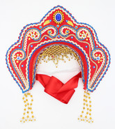 Женские костюмы - Кокошник Фантазия красный в золоте с синим