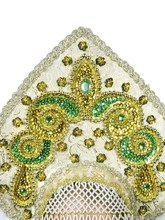 Русские народные - Кокошник Надежда с золотистой парчой