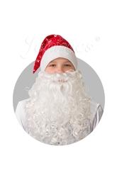 Борода и усы - Колпак красный плюшевый с бородой