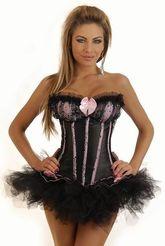 Ретро и Стиляги - Корсет черно-розовый бурлеск с юбкой