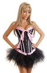 Корсеты - Корсет черно-розовый с юбкой