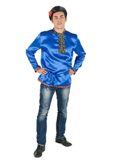 Русские народные - Косоворотка взрослых синяя