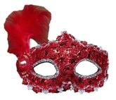 Венецианский карнавал - Красная маска с пером