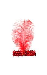 Женские костюмы - Красная повязка на голову с пером