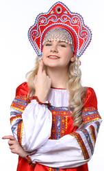 Женские костюмы - Красный кокошник Фантазия в серебре с синим