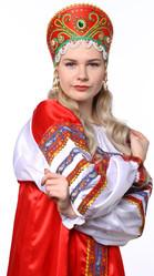 Женские костюмы - Красный кокошник Княжна в золоте с зеленым