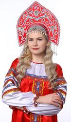 Женские костюмы - Красный кокошник Купола в серебре