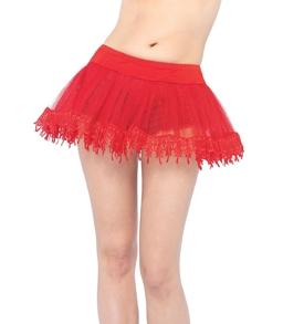 Красный подъюбник с кружевным подолом