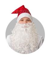Борода и усы - Красный сатиновый колпак с бородой