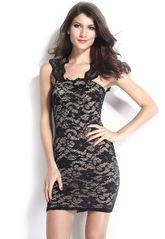 Клубные платья - Кружевное темное платье