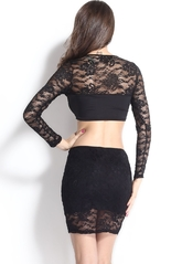 Клубные платья - Кружевной комплект из юбки и топа