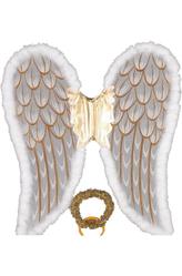 Крылья для костюма - Крылья ангела с золотым нимбом