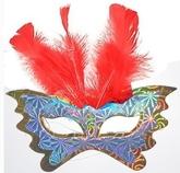 Венецианский карнавал - Маска бабочка с красными перьями