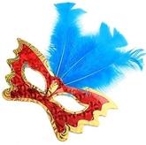 Карнавальные маски - Маска бабочка с синими перьями