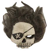 Скелеты и мертвецы - Маска черепа пирата с волосами