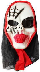 Скелеты и мертвецы - Маска черепа с паутиной в капюшоне