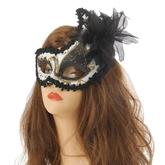 Карнавальные маски - Маска черно-белая с цветком