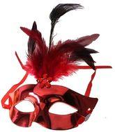 Венецианский карнавал - Маска красная с перьями